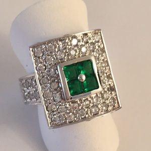 Cocktail Ring Vintage .925 Silver Emerald 6 1/2